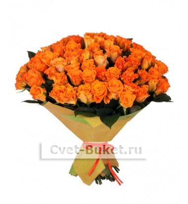 """Букет - """"101 оранжевая роза """""""