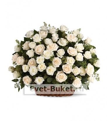 """Корзина - """"51 белая роза"""""""