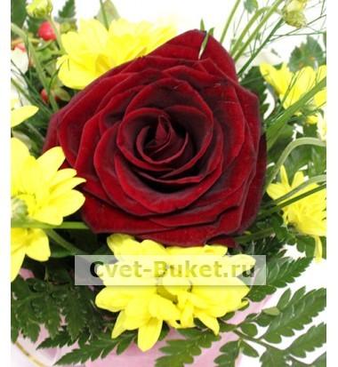 Композиции из цветов - Зайка с розой