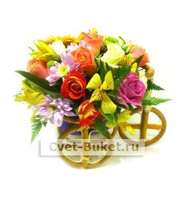 Композиция из цветов - Велосипед