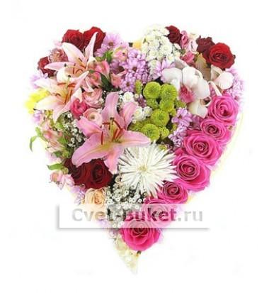 Композиции из цветов - Сердце