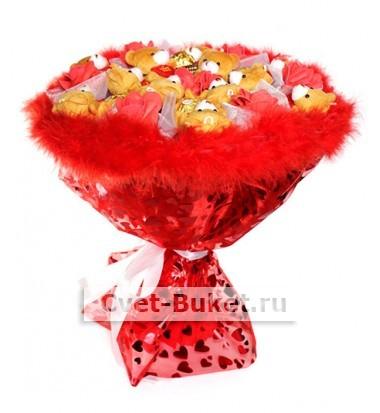 Букет - Красный букет из мишек