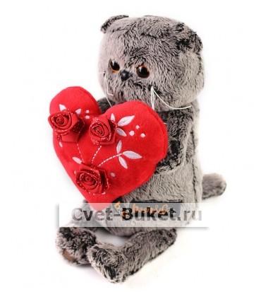 Мягкая игрушка - Кот Басик с красным сердечком