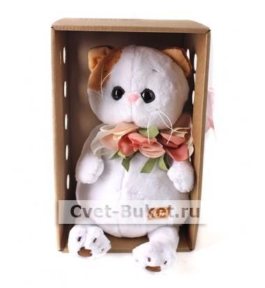 Мягкая игрушка - Кошка Ли-Ли с цветами из шёлка